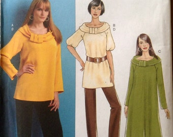 Butterick B5289 - Top, Tunic or Dress with Scarf Collar - Size 8 10 12 14
