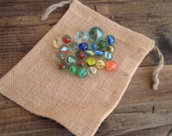Vintage 25 Clear Swirl Marbles with Burlap Bag Toys/Games M539-6