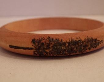 Handmade Wooden Tree Themed Bracelet, Finished in Cedar Danish Oil