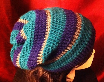 Mariners Slouchy Beanie Navy blue/ Turquoise/Grey/ Hipster/ Adult /child/teen/Beanie/Hat/Super slouchy beanie/crochet/knit