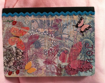 Handcrafted Journal - Altered Composition Notebook- Butterflies