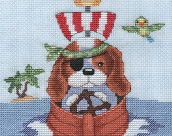 KL150 Pirate Boat featuring Sam & Peeps by Genny Haines (Puppy and Mouse) Counted Cross Stitch Kit