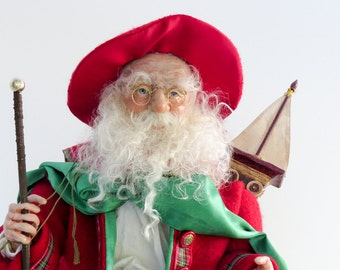 "OOAK Santa, Handcrafted Santa Doll by artist Walt Carter, ""Santa With the Big Red Hat"""