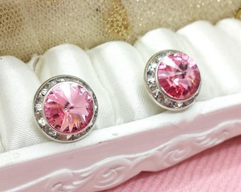 Austrian Crystal Birth Stone Stud Post Earrings, Siam Red Crystal for October,Ruby Red Jewelry