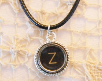 Z Antique Typewriter Key Necklace, Typewriter Key Jewelry, Black Antique Key, 18 Inch Black Cord Necklace, Letter Z Typewriter Key Pendant