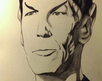 Leonard Nimoy Spock Pencil/Charcoal Sketch