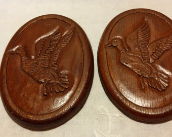 Two Vintage Wooden Duck Magnets