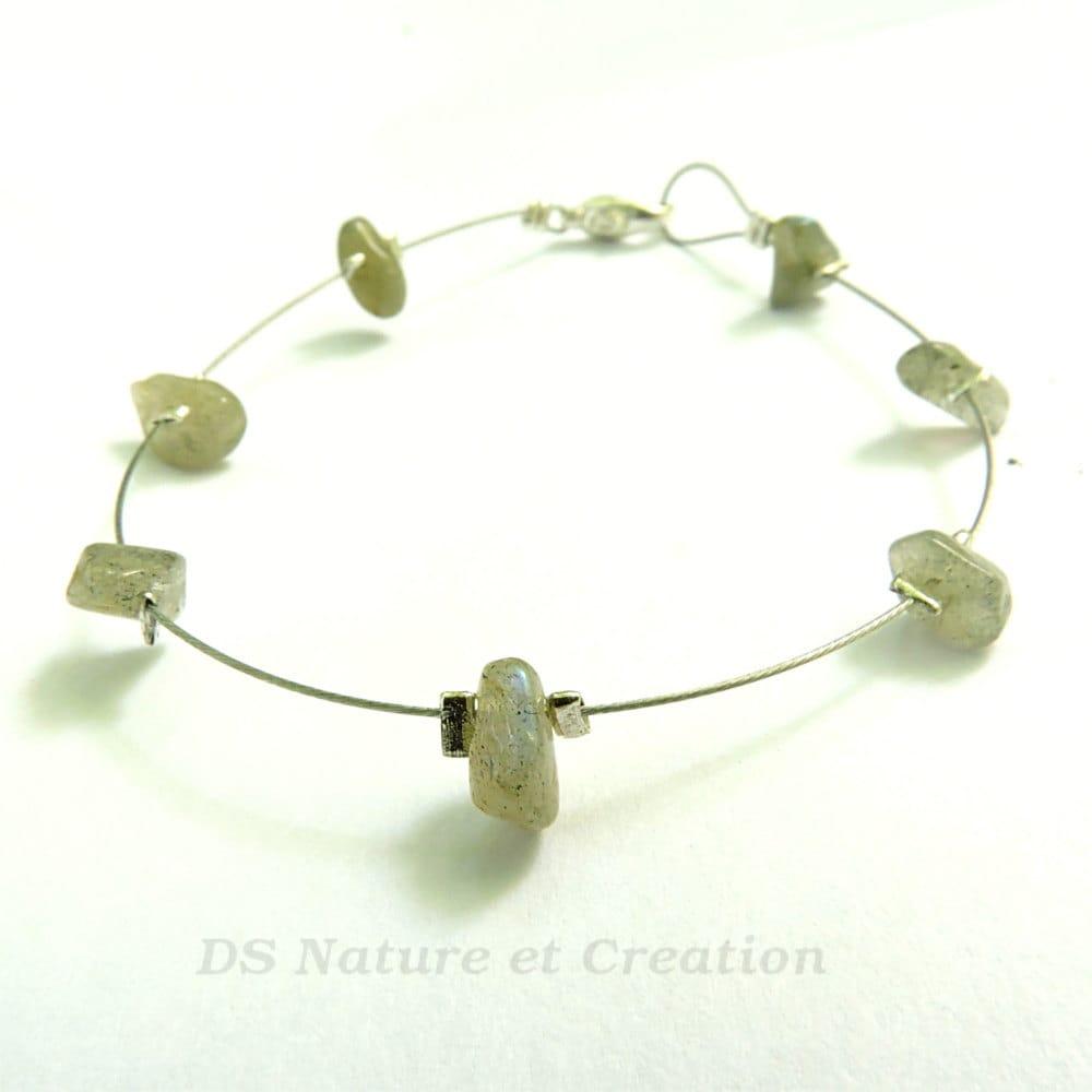 Silver jewelry labradorite simple silver bracelet gemstone