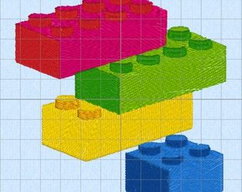 "Lego Blocks - Machine Embroidery Pattern (4x4"" multi-format)"