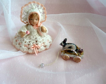 1:12 porcelain doll crochet dress and hat / rattle / grinding / Doll House
