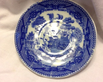 Made in Occupied JAPAN Blue Pattern Soy Dish