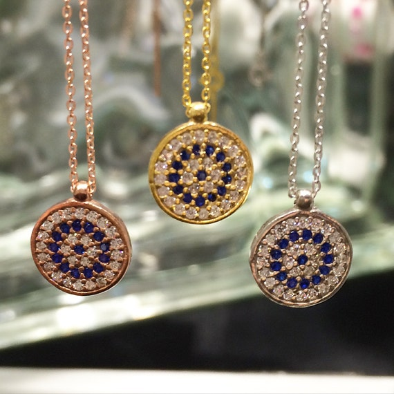 Evil eye protection necklace with zirconia in 925 sterling silver, Price not to be missed