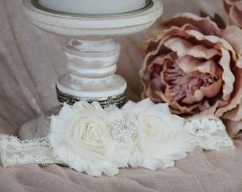 Ivory Double Shabby Chic Flower Headband On Ivory Lace