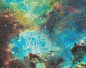 Space Cross Stitch Pattern, NGC 2074 Nebula, Digital Download