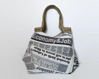 Tote bag, black and white shoulder bag, large handbag, shopper, trendy tote bag, newspaper print, fashionable bag, tote bag, jute handles