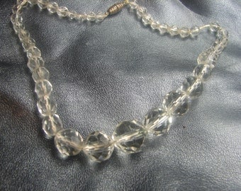 Vintage Faceted Glass Necklace on String 52