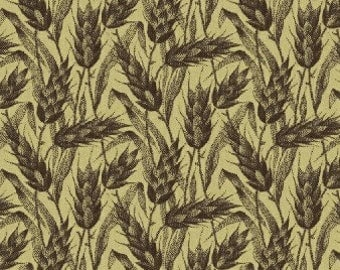 General's Wives - Brown Wheat on Tan Fabric