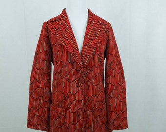 SALE! Vintage Charlotta of California Jacket by Glazier . Red Print. Vintage '60's.  Size 12.