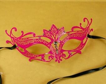 HOT PINK Mardi Gras Venetian MASQUERADE Mask Laser Cut metal w/ Rhinestones