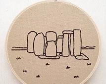 Stonehenge Landscape Hand Embroidery UK England Seven Wonders Fiber Art Minimalist Embroidery Landscape Embroidery Decor Stone Village Art
