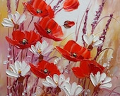 Red Poppies Meadow IMPASTO Original Oil Painting White Daisies Flowers Impression Garden Art Floral Signed Palette Knife Stretched Varnished