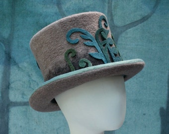 Fern Fiddle Top Hat - Woodland Top Hat - Men's Top Hat - Ladies Top Hat - Ombre Top Hat