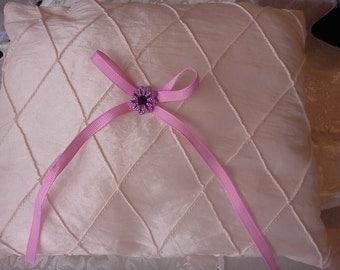 wedding Ivory satin ring pillow pintucks diagonal Lavender bow button