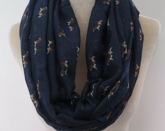 Navy Beagle Dog Print Infinity / Long Women's Scarf Gift Ideas