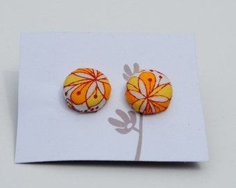 Cloth Covered Button Earrings