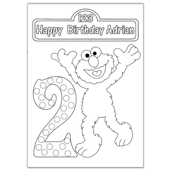 Personalized Elmo Birthday Party Printable coloring by ...
