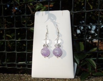 Purple Quartz Gemstone drop Earrings with 925 Sterling Silver