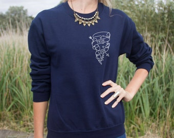 True Love Jumper Sweater Pull Pocket Pizza Slice Donut Arrow Heart Bae Boyfriend Grunge Funny Slogan Top