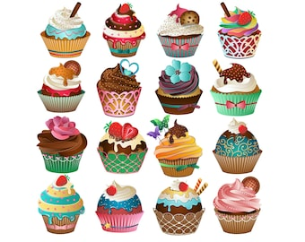 Cute Cupcake ClipArt- Set of 16 PNG, JPG and Vector Cupcakes