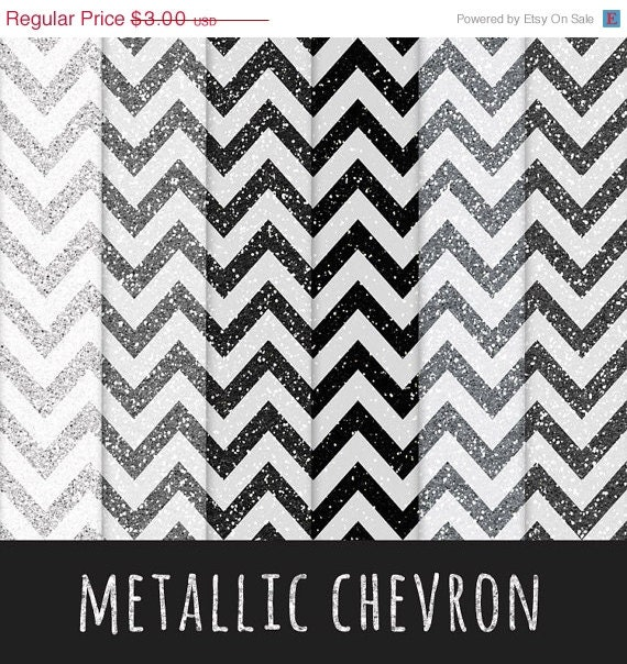 SALE Metallic Glitter Chevron / Silver Glitter / by ...