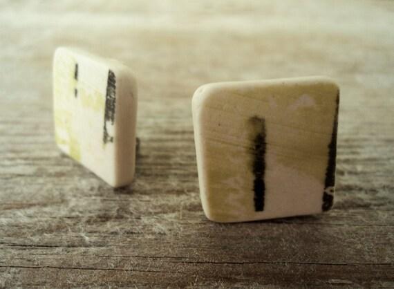 Square semi porcelain clip earrings