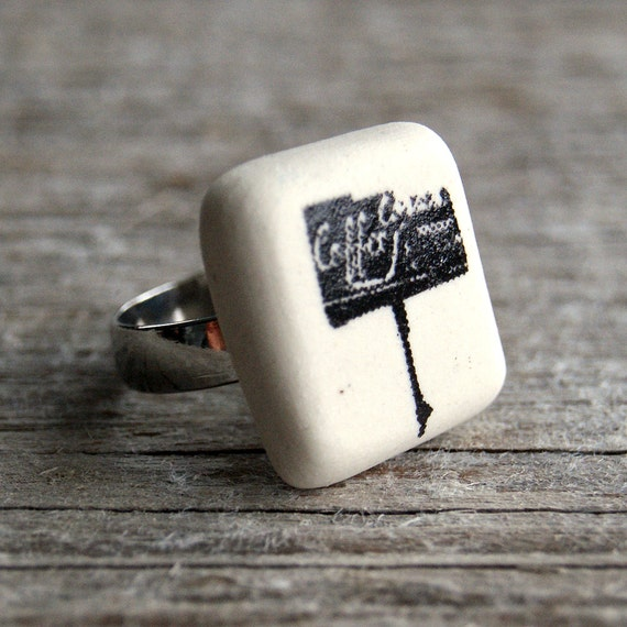 Coffee shop sign print semi porcelain adjustable ring