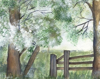 Daybreak -  Watercolour Painting - fresh and summery - Fine Art Prints and Greetings Cards