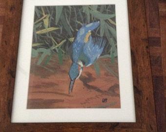 Fishing Kingfisher - original watercolour