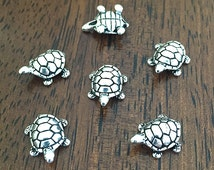 4 Silver Plated Turtle Beads, Turtle Shaped Beads, TierraCast Silver Turtle, 16x12mm (CH-75)