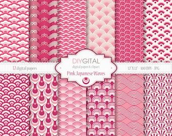 "Pink Japanese Waves Digital Paper Set - 12 Printable digital papers for scrapbooking, invites, cards - 12""x12"" - 300dpi- Instant Download"