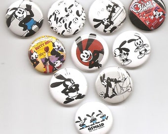 Oswald The Lucky Rabbit Set of 10 Pins Button Badge Pinback