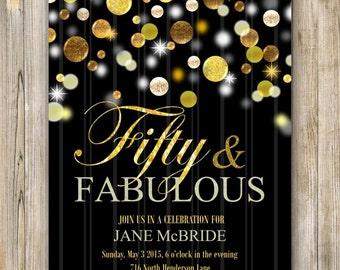 GOLD GLITTER BIRTHDAY Invitation, Fifty and Fabulous Invite, Women Birthday Invite, Fabulous at 50, Fifty and Sassy, Men Birthday Printable