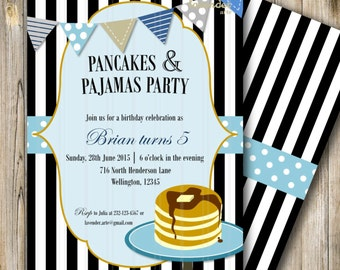 Pancakes and Pajamas Party, Boy Birthday Invite, Pancakes and Pyjamas Birthday, Boy Sleepover Invite, Black White Stripes, DIY Printable