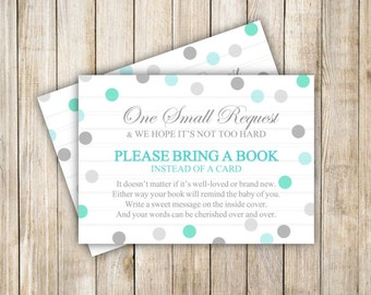 Bring a Book Baby Shower, Teal Grey Card Insert, Book Insert Card, Teal Gray Polka Dots, Baby Shower, Instant Download, DIY Printable