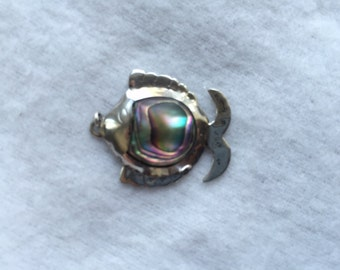 Vintage Sterling Silver Fish Pendant With Abolone Shell. Made In Mexico