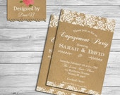 Engagement party invitation, lace, classic white elegant, engagement invite, i do party, lace and cardboard