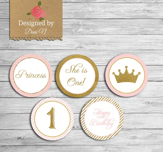Princess Birthday Cupcake Topper Instant Download Pink