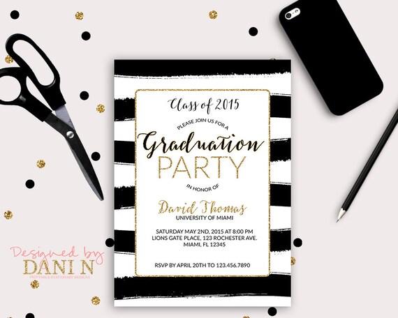 Graduation invitation black and white stripes gold grad invite il570xn filmwisefo