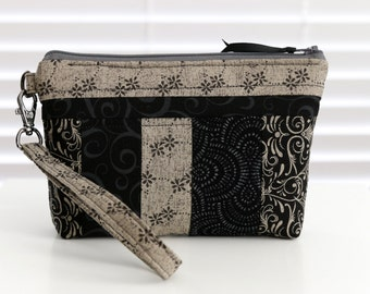 On The Go Wristlet - black/gray classic patch - removable wrist strap, optional cross body strap - credit card slots - FREE shipping