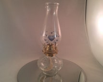 Glass Hurricane Oil Lamp - Oil Lamp with country heart decor - Hurricane Lamp - kerosine lamp